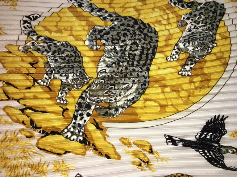 Hermes Accordion Tiger Print Scarf In Good Condition For Sale In Southampton, NY