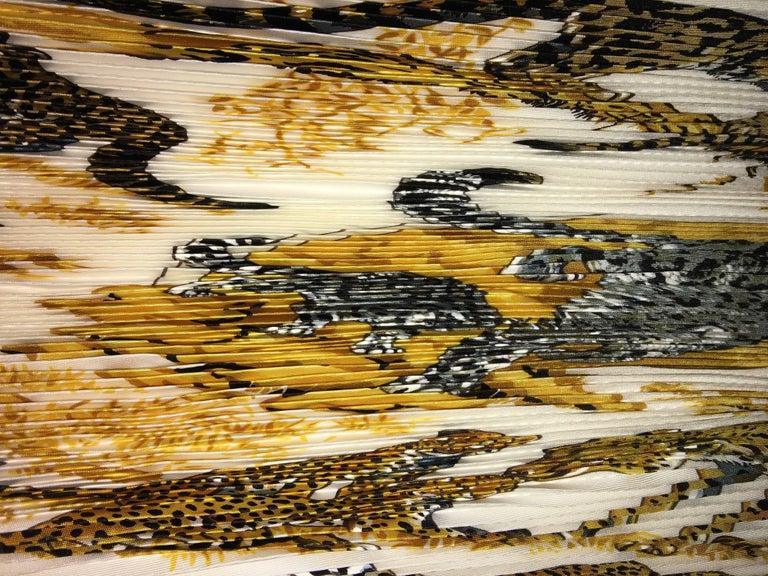 Beige Hermes Accordion Tiger Print Scarf For Sale