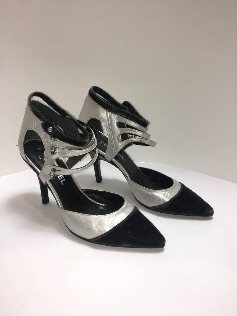 Chanel Black Velvet and Silver Leather Heels. Multi Ankle Straps with a Pointed toe.