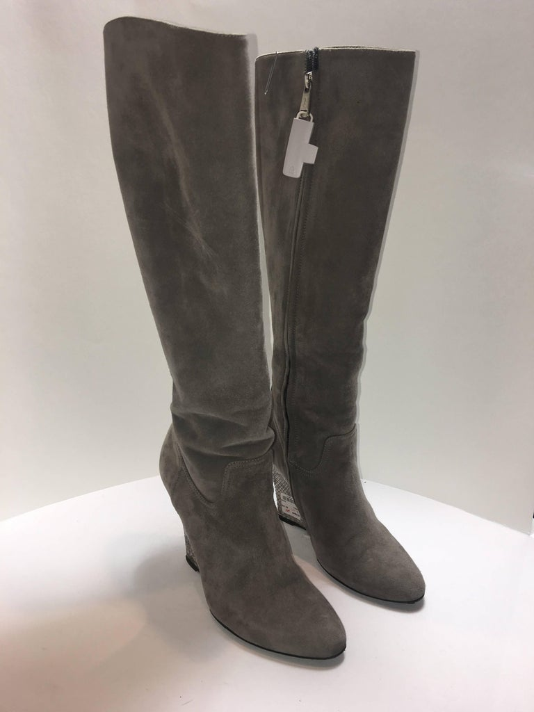 Ralph Lauren Boots in size 8.5. Grey Suede Wedge Boot with Silver Python Heel.