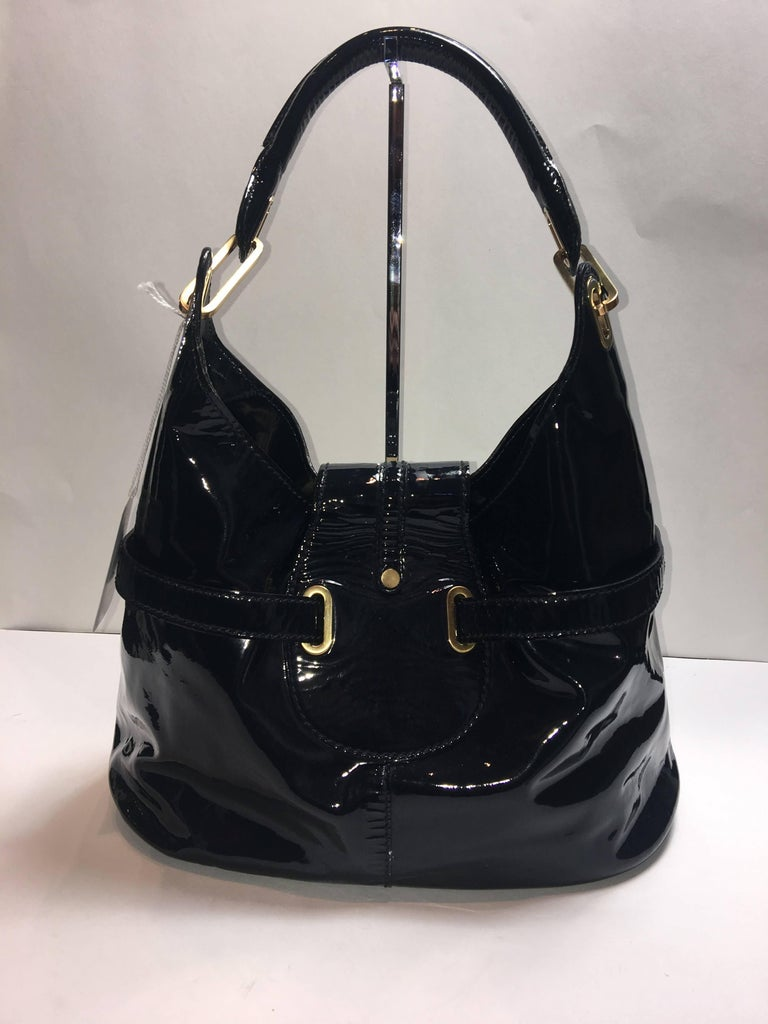 """Jimmy Choo Navy Patent Leather """"Tulita"""" Shoulder Bag with Gold Hardware and Suede Interior."""