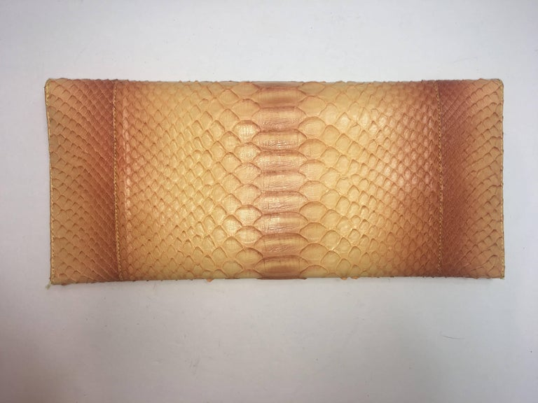 Brown Carlos Falchi Python Clutch For Sale