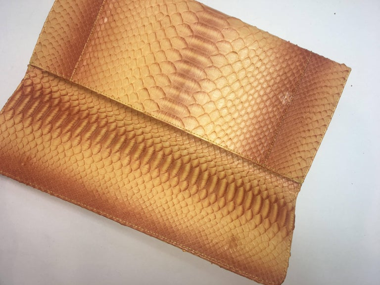 Carlos Falchi Python Envelope Clutch with Magnetic Flap Closure and Silver Curb Link Chain Strap.