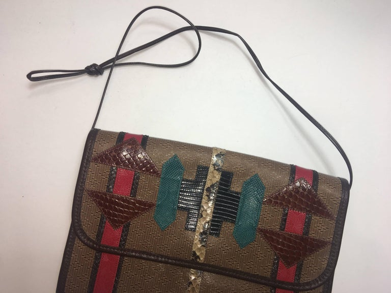 Brown Carlos Falchi Aztec Clutch For Sale