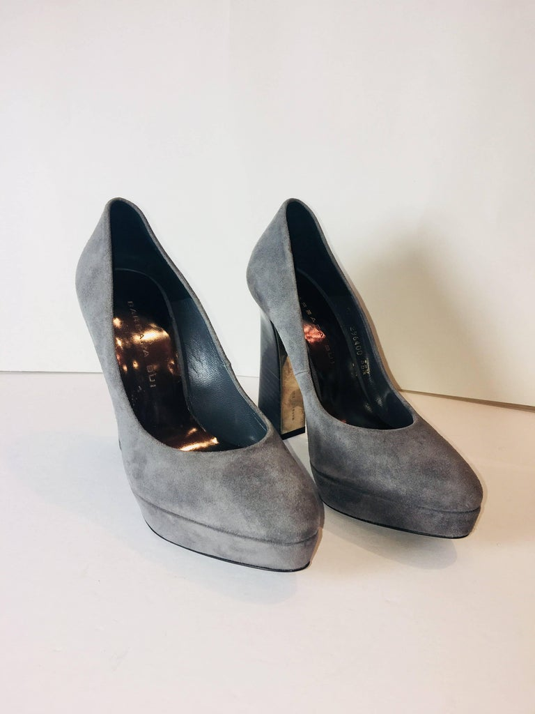 Barbara Bui Platform Heels in Grey Suede with Block Heel