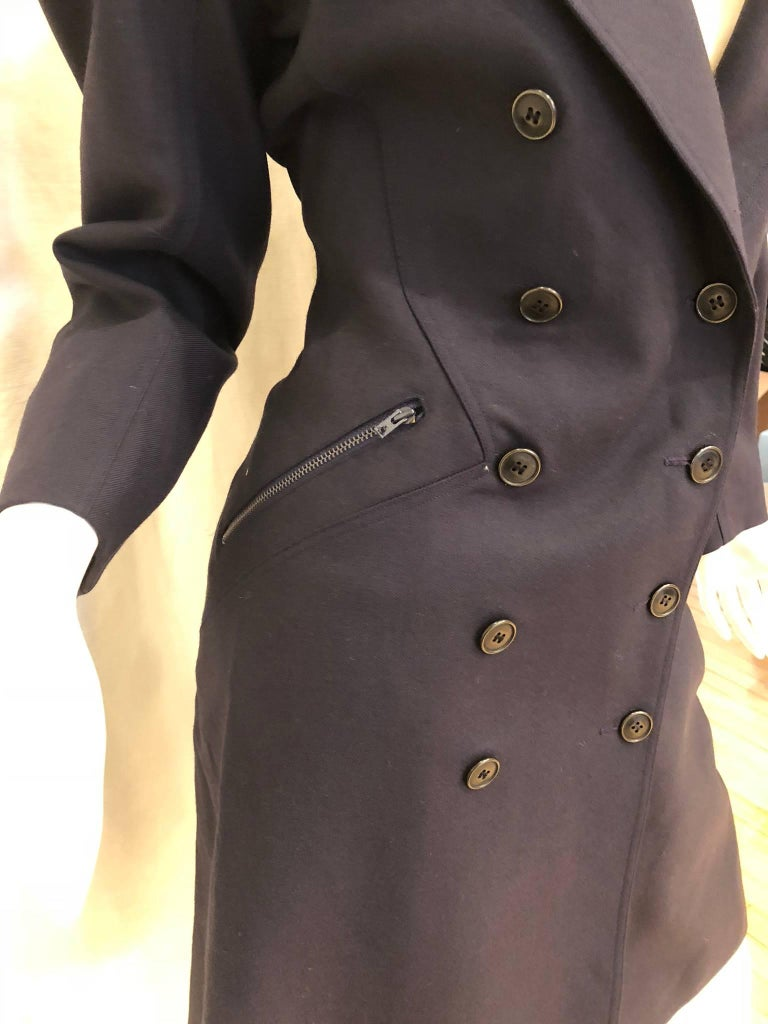 Black Alaia Double Breasted Coat For Sale
