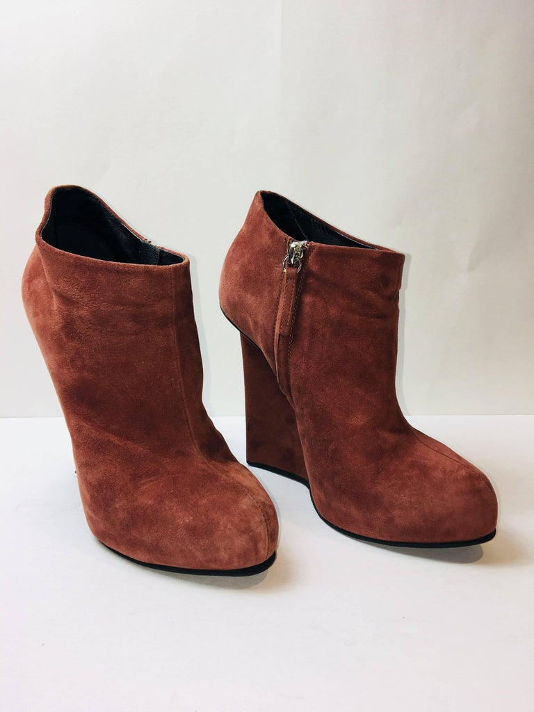 Giuseppe Zanotti Cognac Suede Booties with Wedge Heel and Side Zip