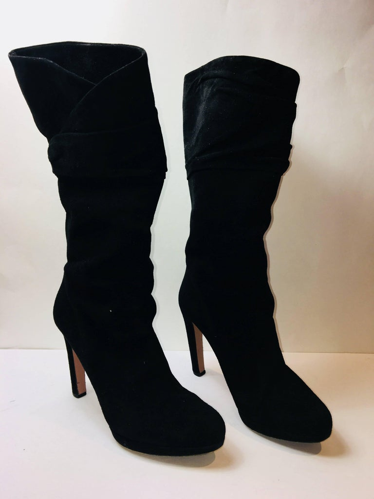 Prada Mid Calf Suede Boot with High Heel and Folded Detail at Calf.