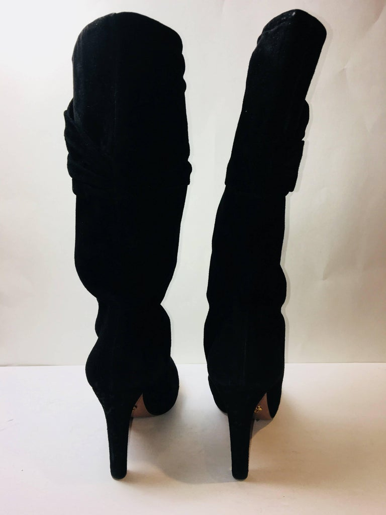 Prada Mid Calf Suede Boot In Excellent Condition For Sale In Southampton, NY
