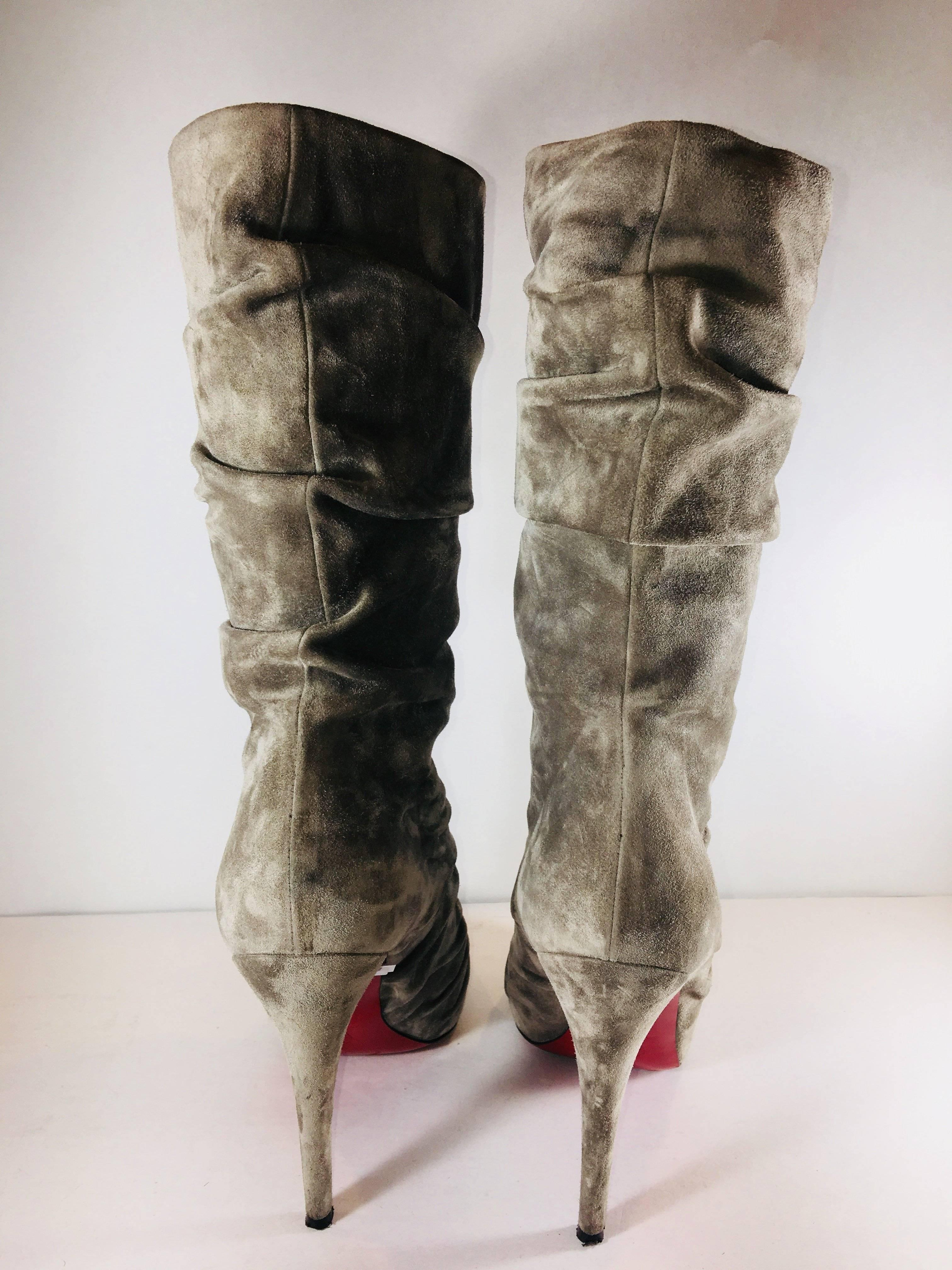 662834e966cf ... where can i buy womens christian louboutin gathered mid calf boots for  sale bd23f d0ec4