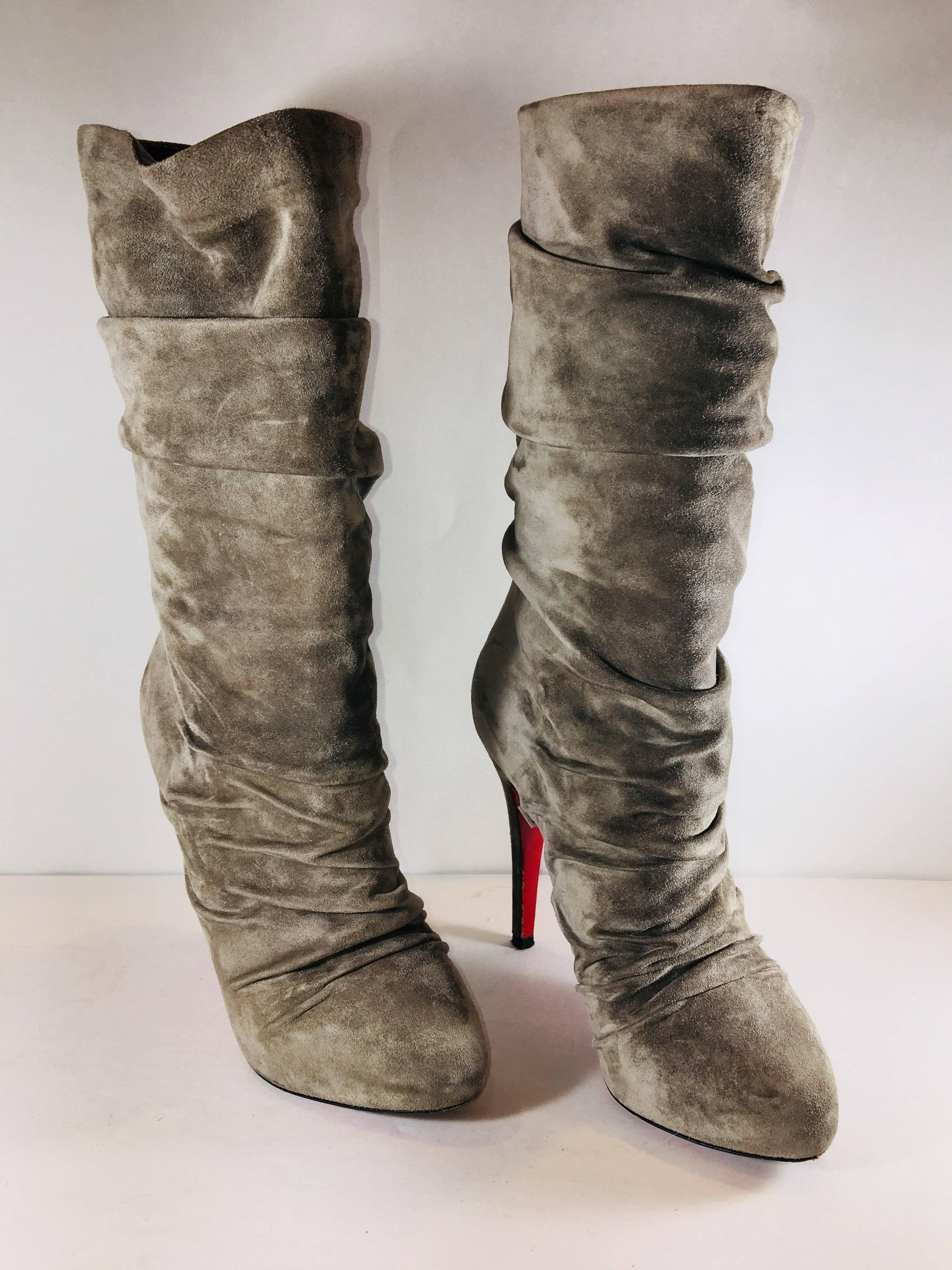 15ec098f2974 ... barneys cate trash shoes 570ec e1892  reduced christian louboutin  gathered suede mid calf boots with signature red bottom soles. f6a4e cdb8a