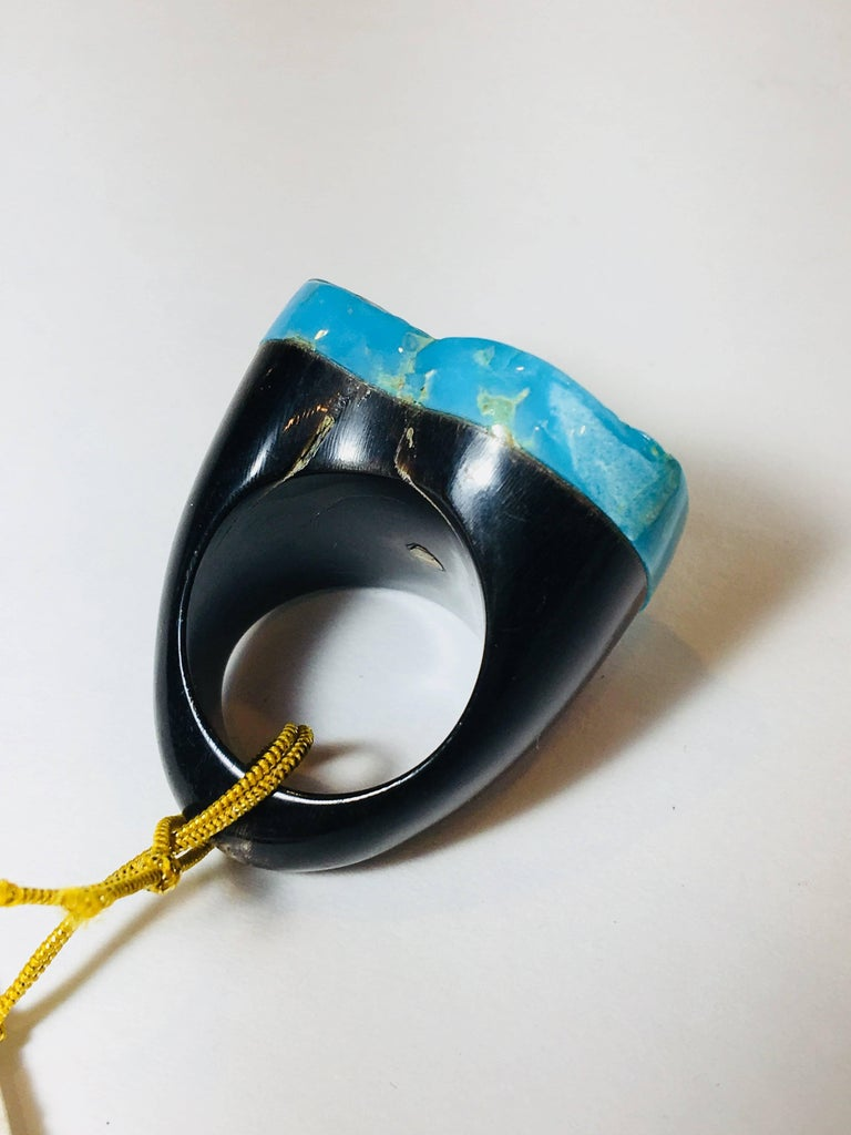 Moo Moo Designs Turquoise Ring In Excellent Condition For Sale In Bridgehampton, NY