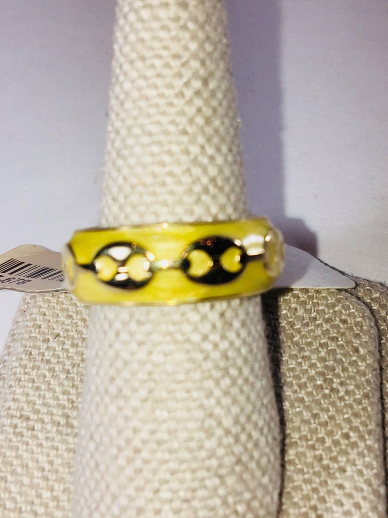 Vermeil Ring with Yellow Enamel Band.