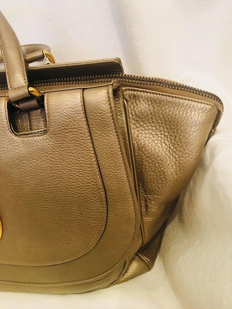 Brown Gucci Leather Handbag For Sale
