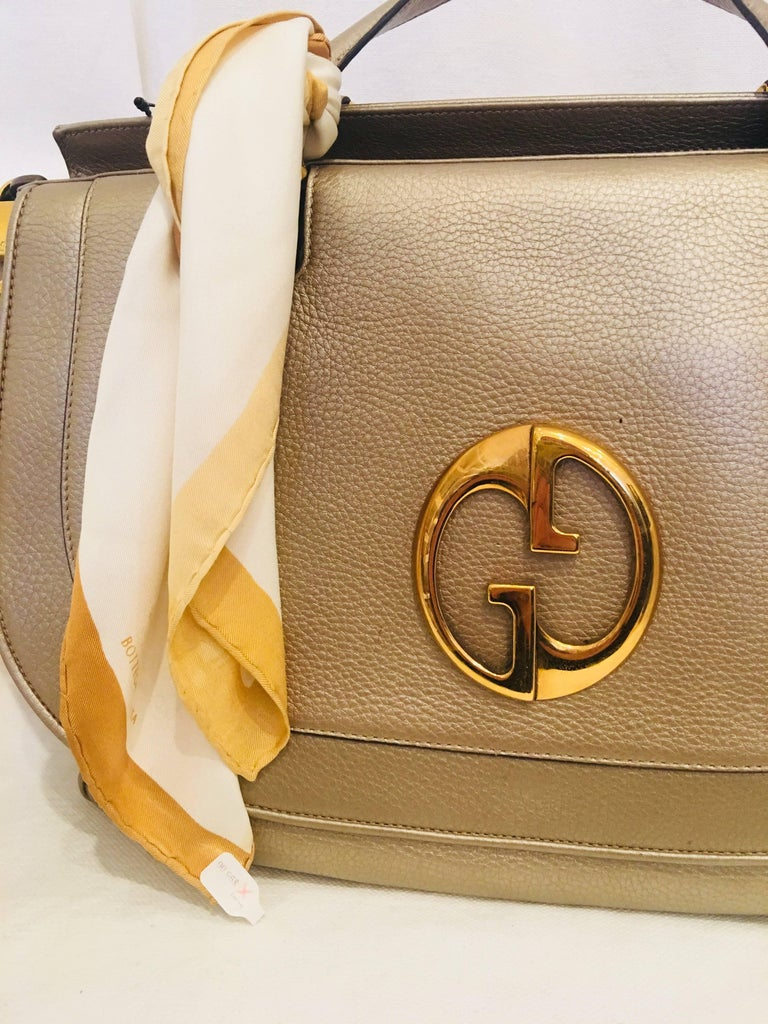 Gucci Metallic Leather Large Handbag with Gold Hardware with Scarf Tied on Handle.