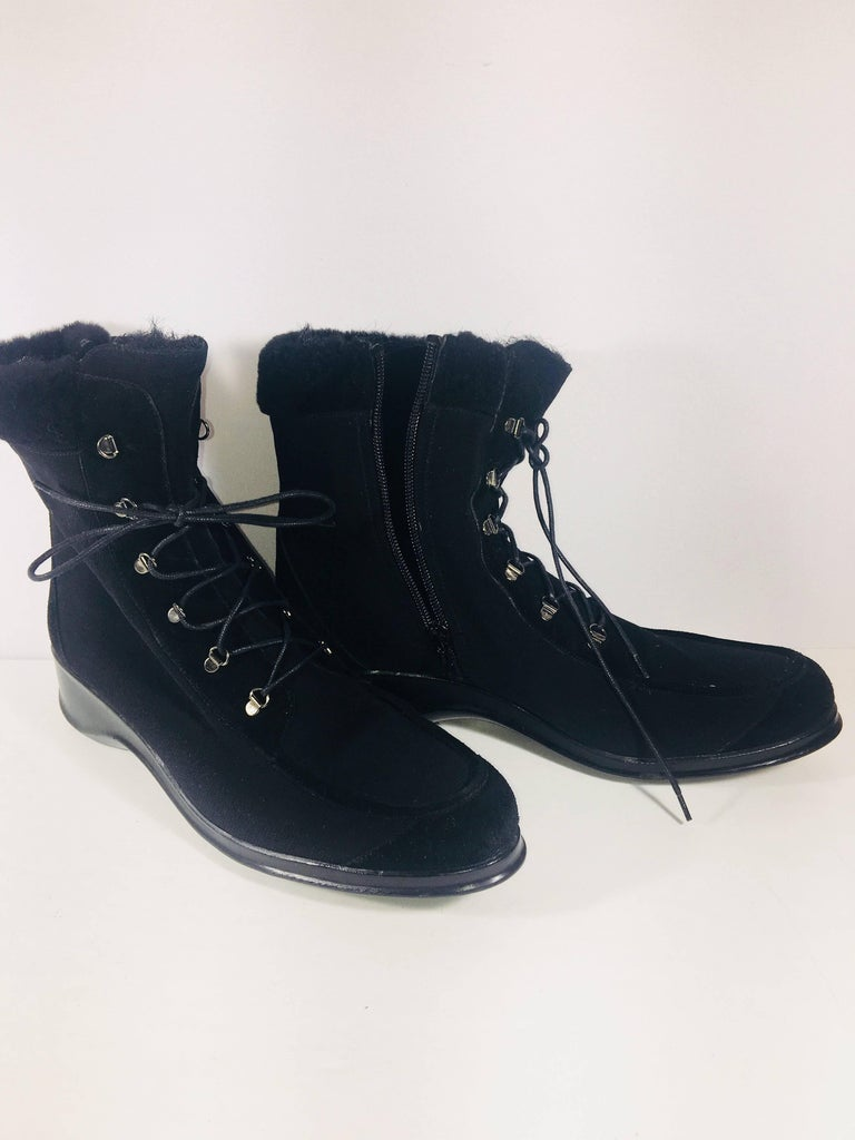 Stuart Weitzman Wedge Ankle Boots in Black Suede in Size 10. Lace Up and Zip Sides.