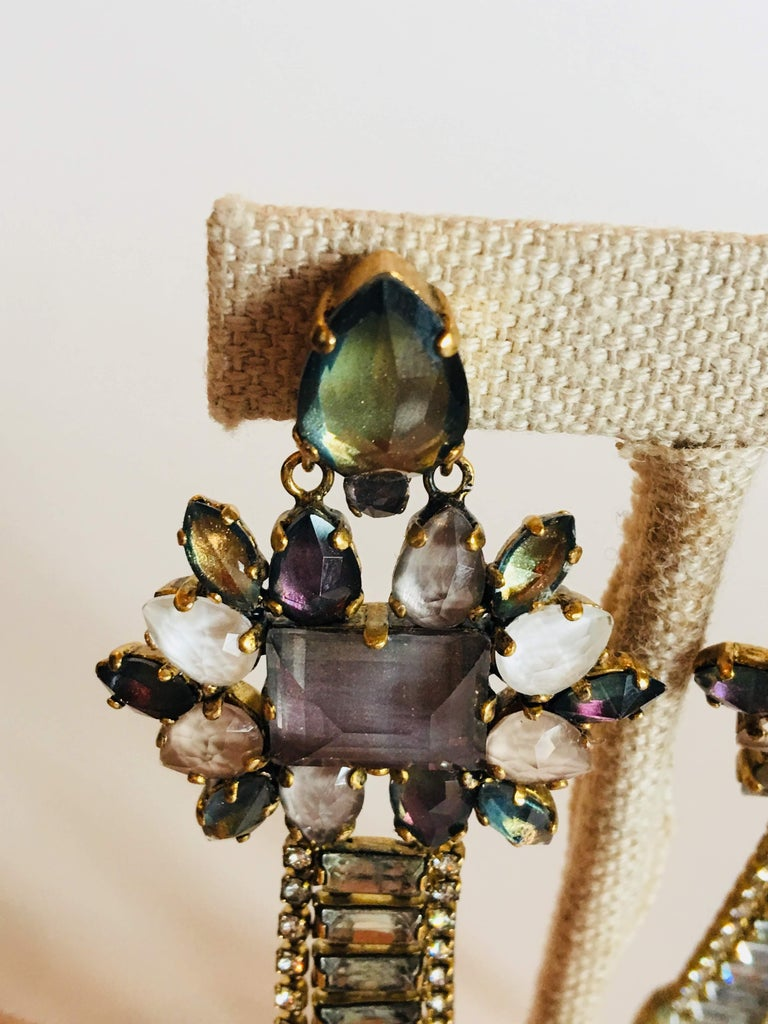 Erickson Beamon 'Sound Garden' Earrings Multi Color Jeweled Post with Dangle Swarovski Crystals. Gold Plated.
