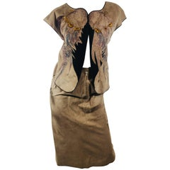 Vintage Roberto Cavalli Leather Vest and Skirt Set