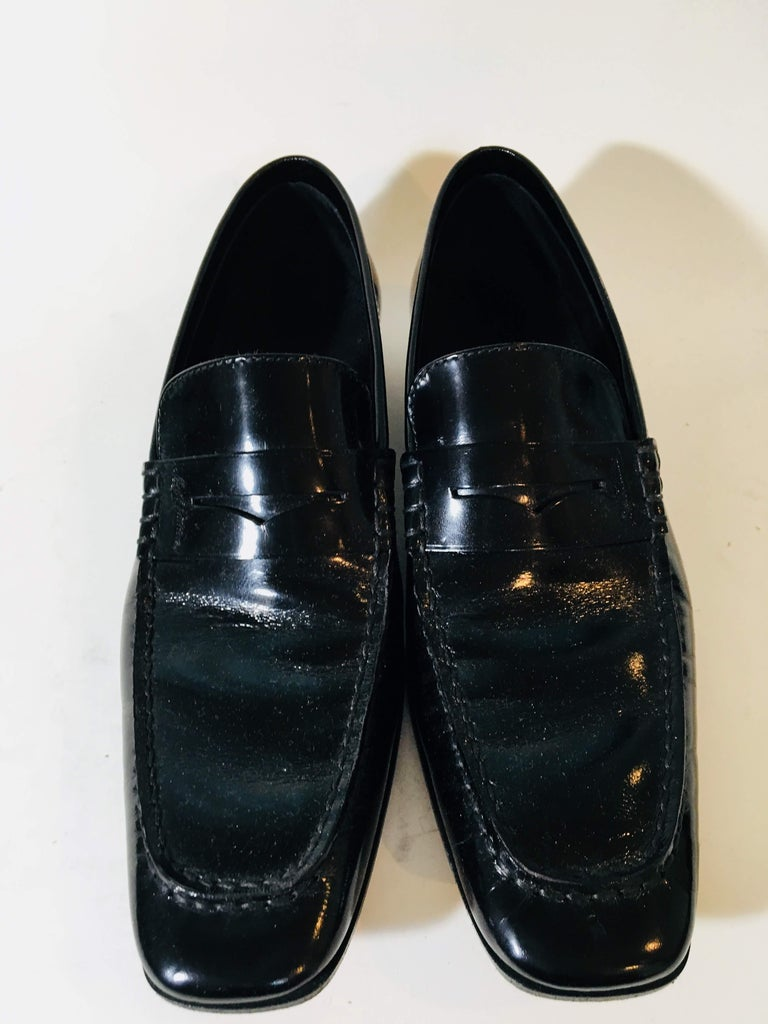 Louis Vuitton Black Leather Penny Loafers Square Toe.