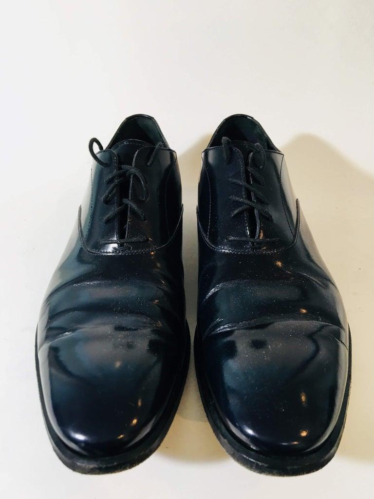 Yves Saint Laurent Black Patent Leather Lace Up Oxfords