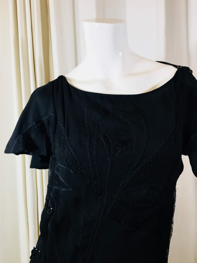 Chloe Black Short sleeve Silk Dress With Swarvoski Crystals