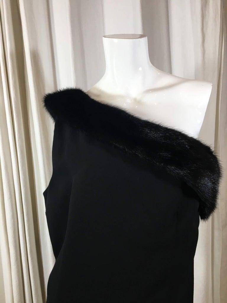 Michael Kors Black Wool Blend One Shoulder Dress With Mink Trim