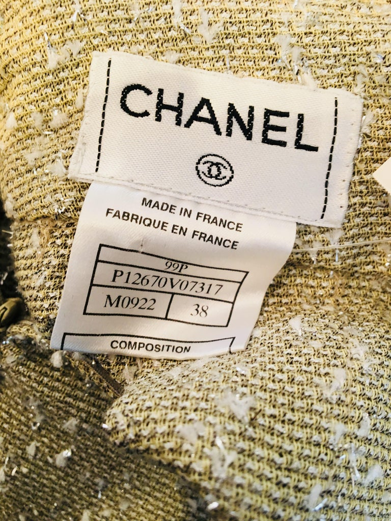 Chanel Taupe Tweed Skirt  For Sale 5