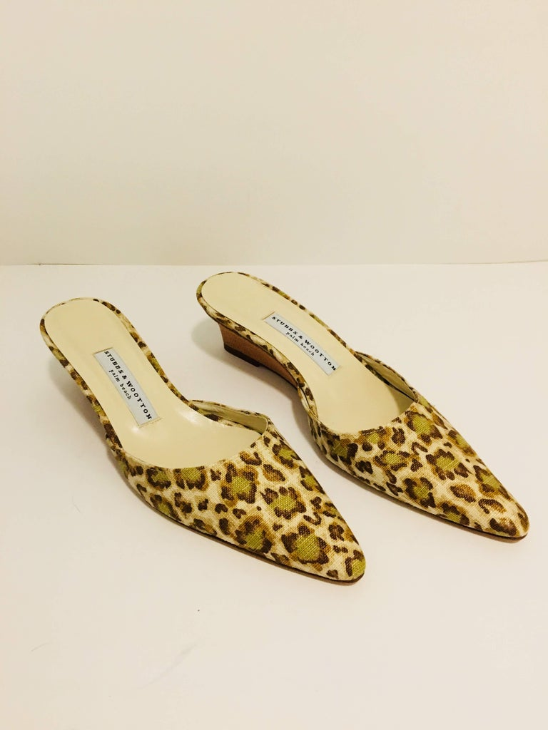 Stubbs & Wooton Multi-Color Leopard Print Low Wedge with Pointed Toe.