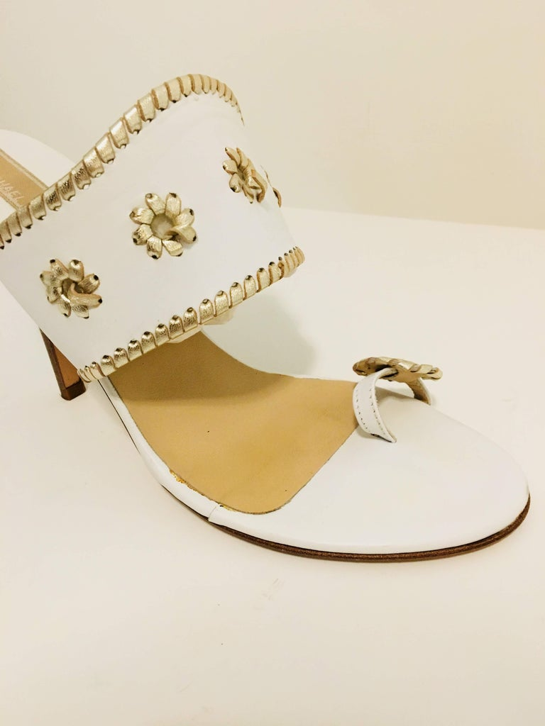 Michael Kors White and Gold Leather Sandals with Stiletto Heel.