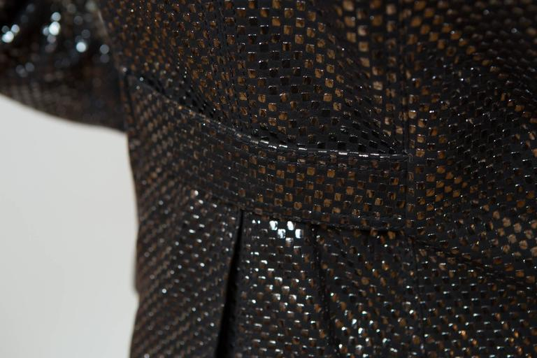 Burberry Black Leather Jacket With Silver Sparkle Pattern