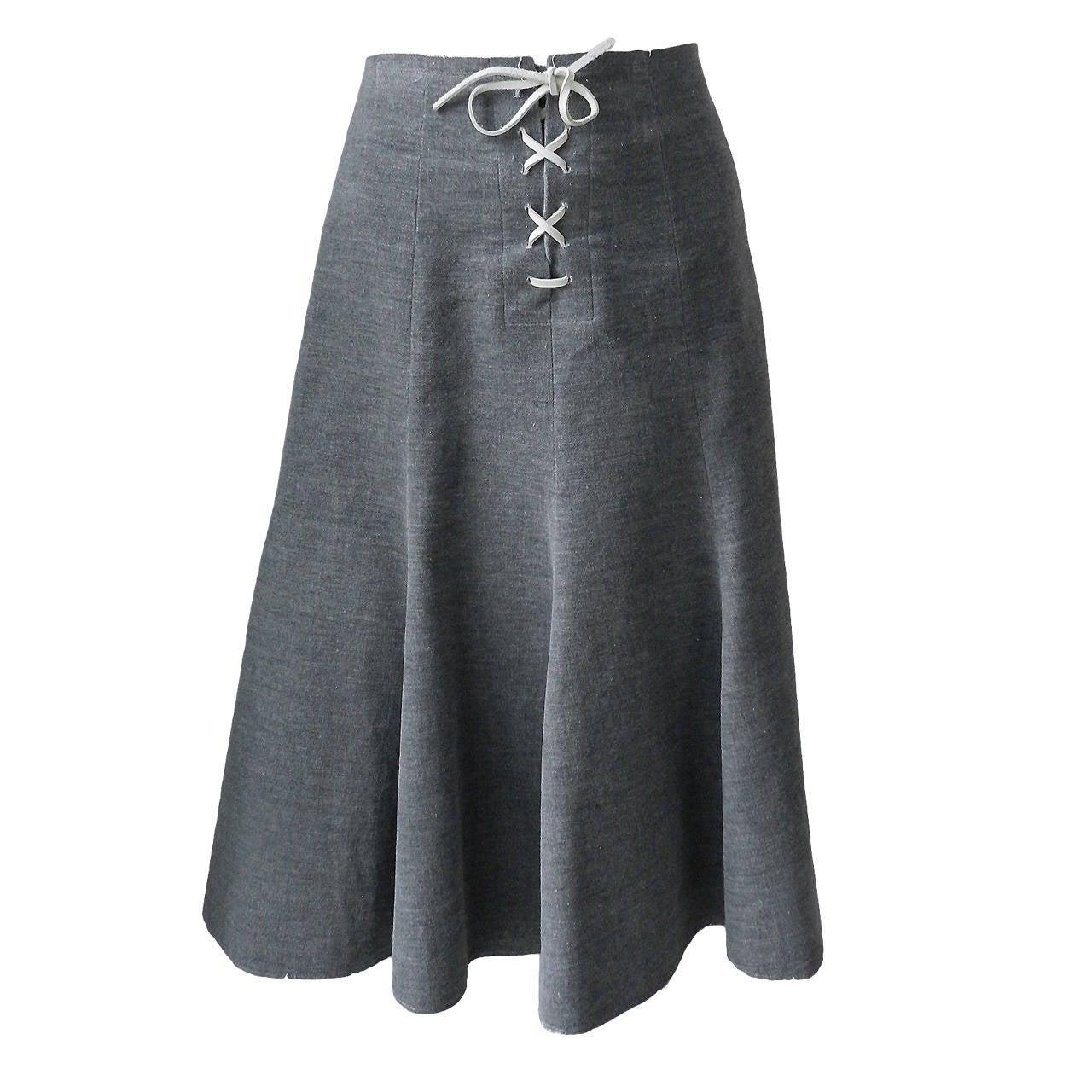 comme des garcons vintage grey velvet skirt with leather lacing at 1stdibs. Black Bedroom Furniture Sets. Home Design Ideas