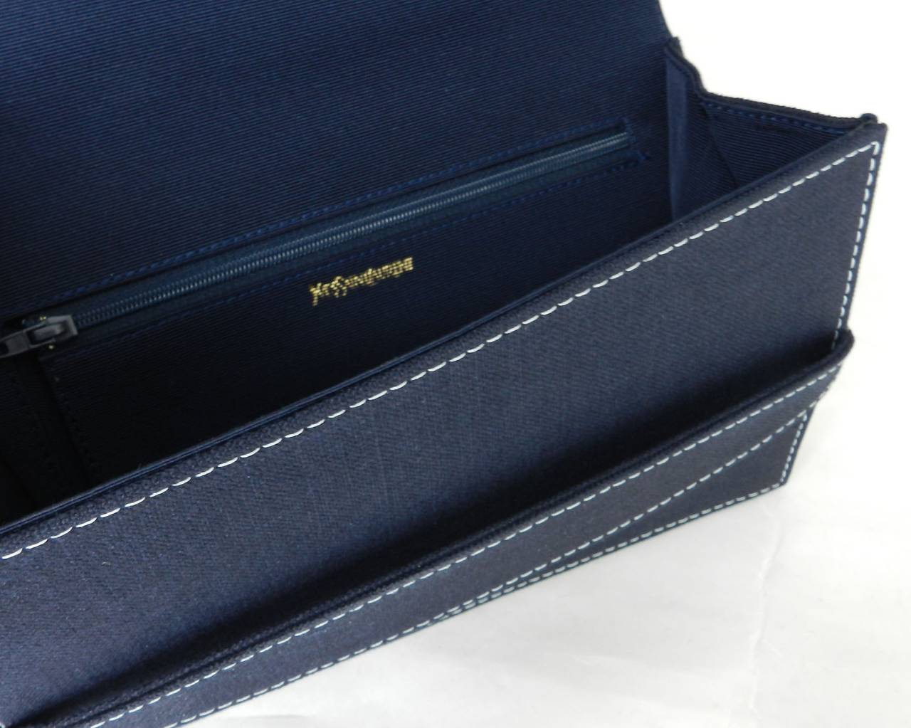 Yves Saint Laurent 1990\u0026#39;s Navy Cotton Envelope Clutch at 1stdibs