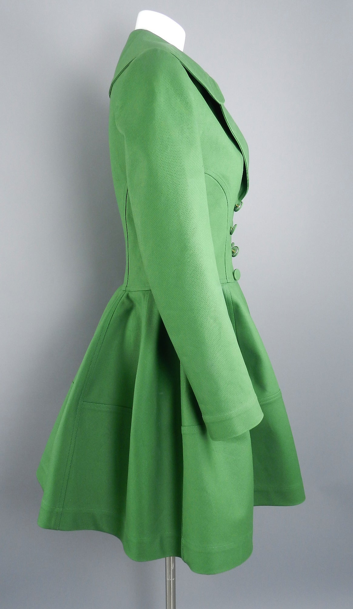 Alaia Spring Green Cotton Structured Coat 2