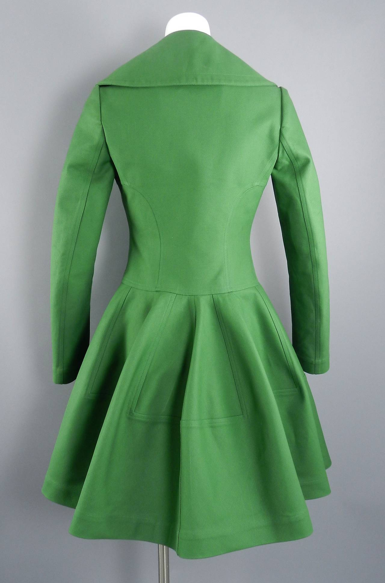 Alaia Spring Green Cotton Structured Coat 3