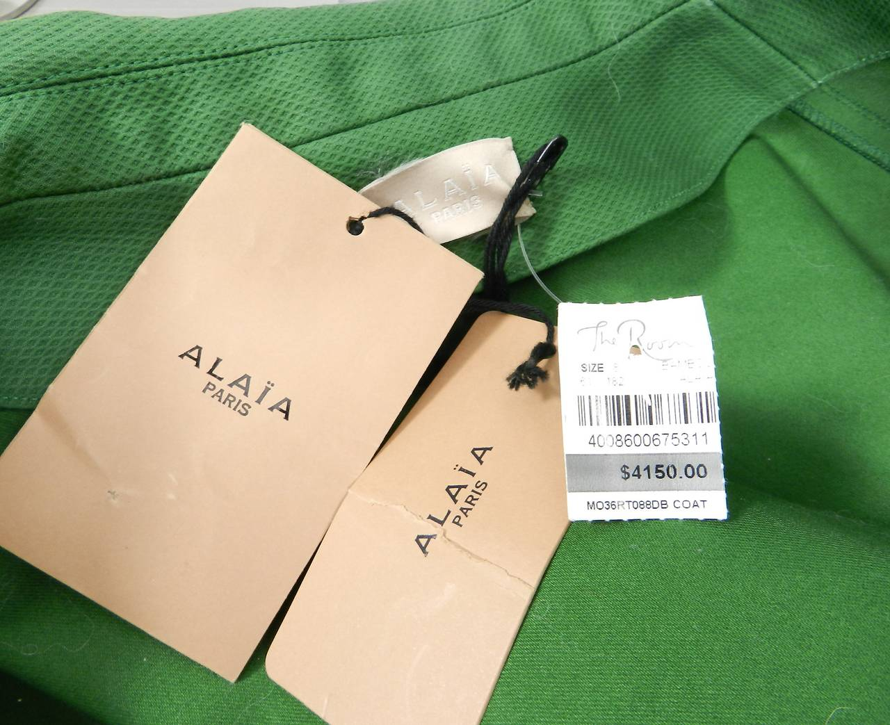 Alaia Spring Green Cotton Structured Coat 4
