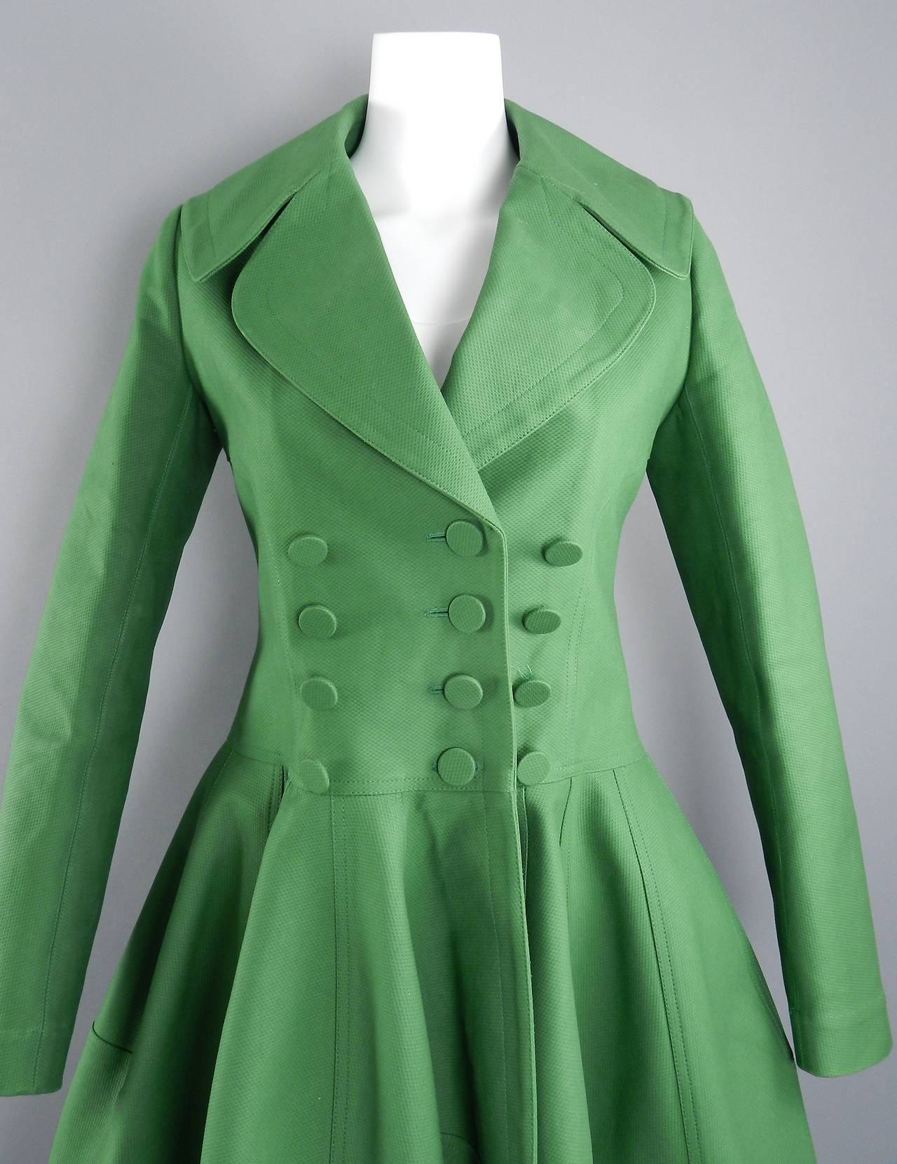 Alaia Spring Green Cotton Structured Coat 5