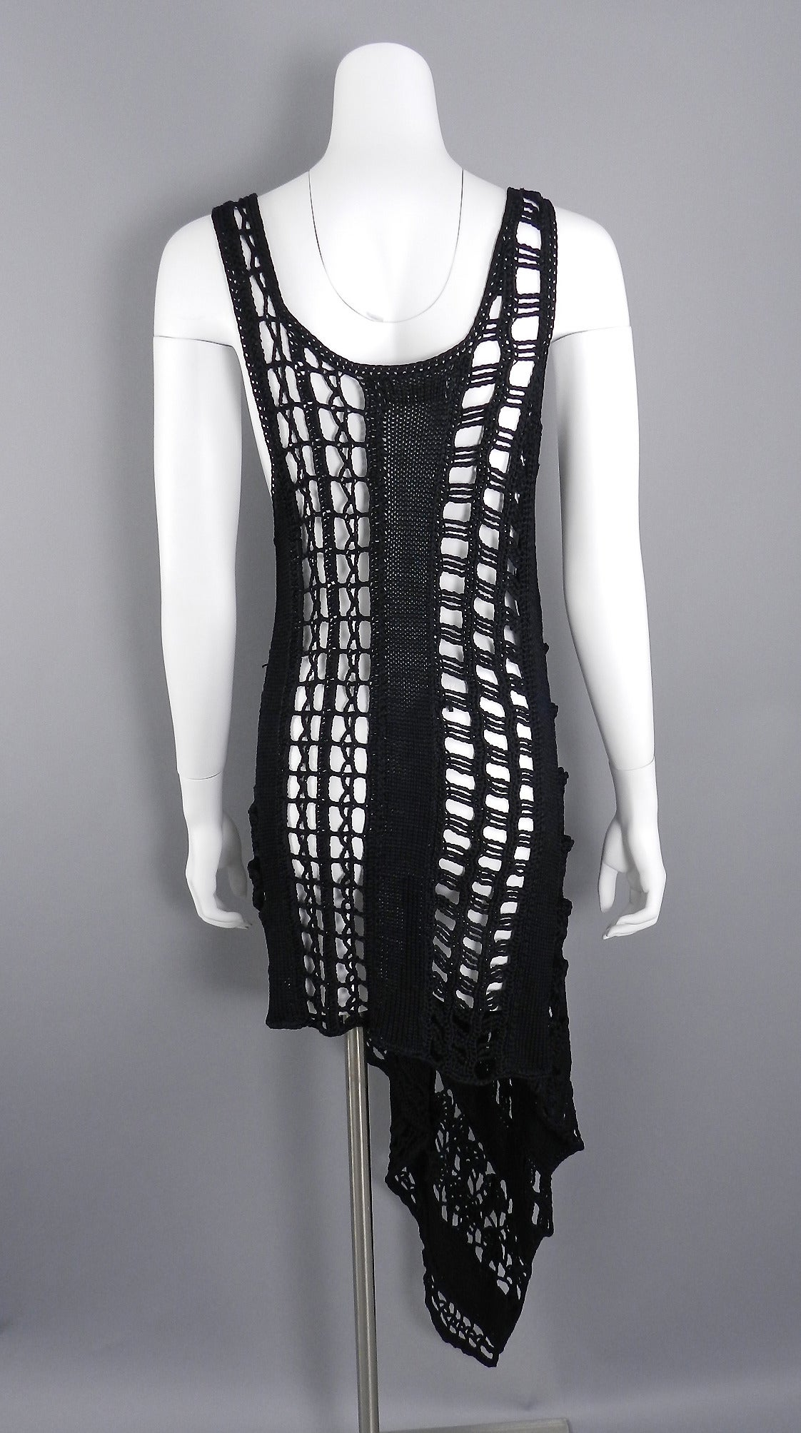 Black 1990's Yohji Yamamoto Knit Asymmetrical Dress For Sale