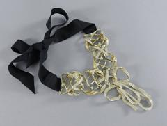 Chanel 13C Runway Crystal Embellished Bow Necklace with Ribbon Ties