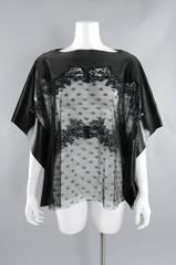 Valentino Black Lambskin Leather and Sheer Lace Caftan Tunic Top