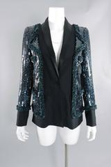 Chanel 11A Teal Lesage Sequin Runway Jacket with Tweed Trim