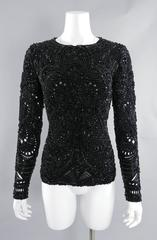 Emilio Pucci Fall 2013 Runway Heavily Beaded Black Evening Top / Shirt