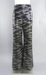 Chanel Grey and white Silk Lesage Sequin Wide Leg Pants
