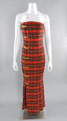 Isaac Mizrahi Fall 1989 Extreme Kilt Runway Dress - Red Plaid