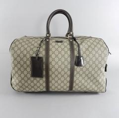 Gucci GG monogram Brown Canvas Duffle Rolling Luggage Carry on Travel Bag