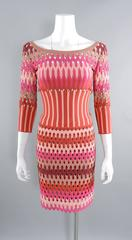 ALAIA red and pink cut out diamonds bodycon stretch dress