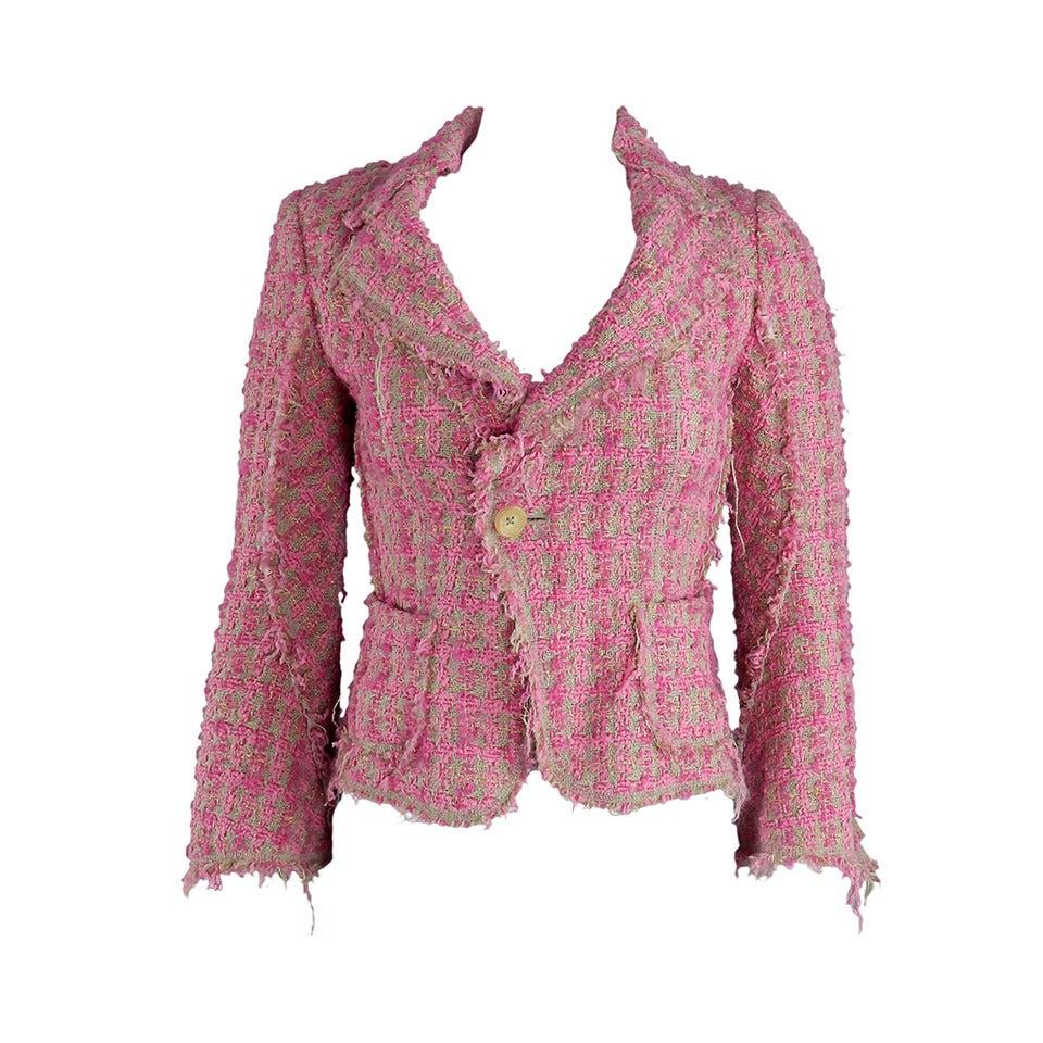Junya Watanabe Comme des Garcons Pink Tweed Jacket at 1stdibs