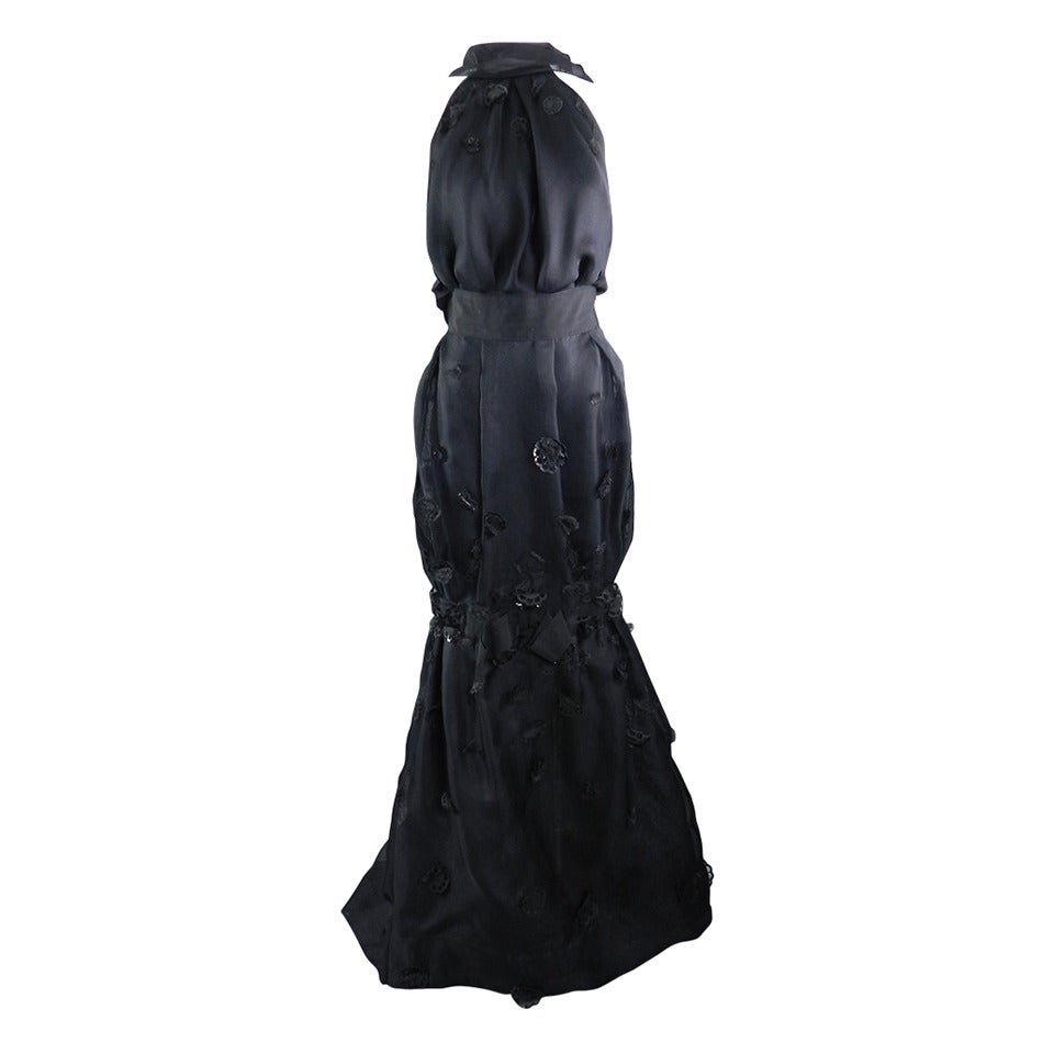 Nina Ricci 12P Black Embellished Silk Halter Gown 1