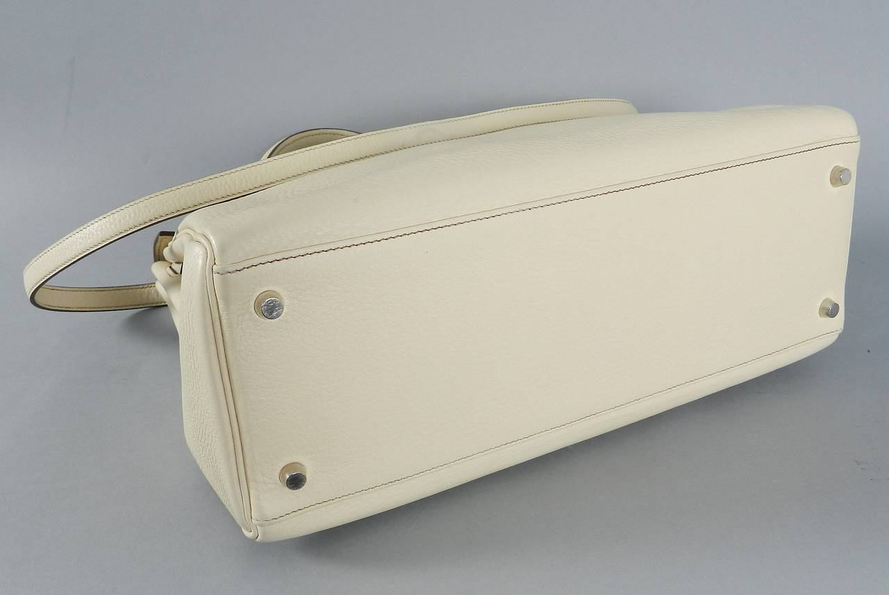 Hermes Kelly 35 Blanc Casse Brushed Palladium 5