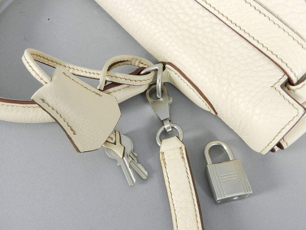 Hermes Kelly 35 Blanc Casse Brushed Palladium 6