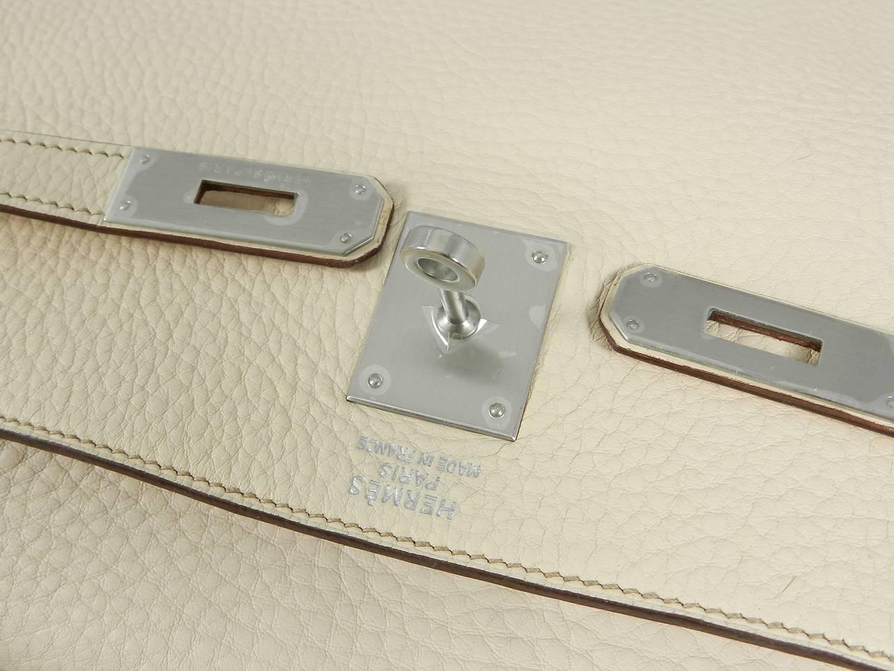 Hermes Kelly 35 Blanc Casse Brushed Palladium 7